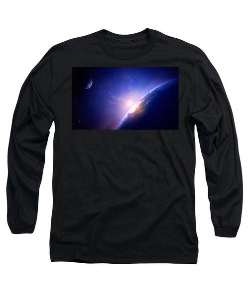 Earth Sunrise In Foggy Space Long Sleeve T-Shirt