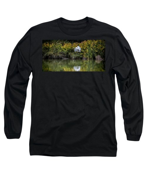 Long Sleeve T-Shirt featuring the photograph Egret At The Lake by Chris Lord