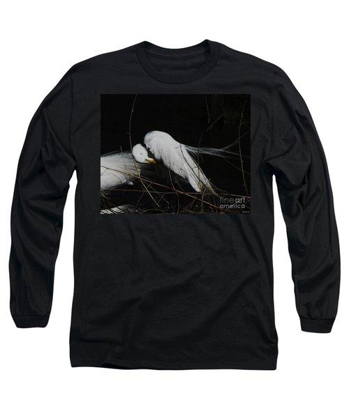 Egret Bird City At Avery Island Louisiana Long Sleeve T-Shirt