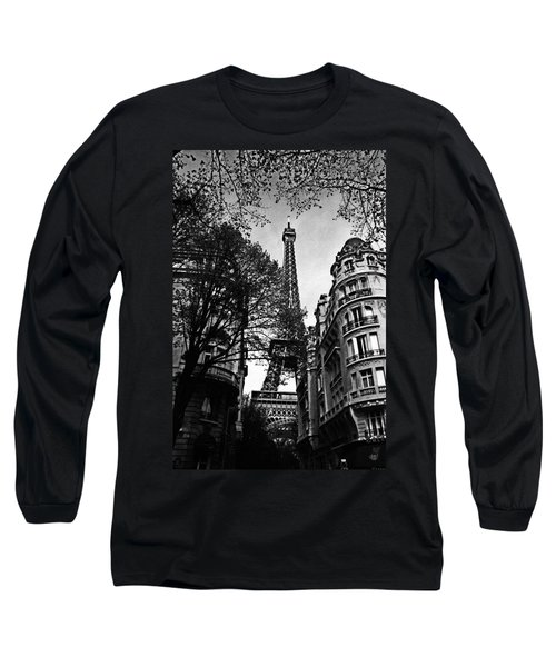 Eiffel Tower Black And White Long Sleeve T-Shirt