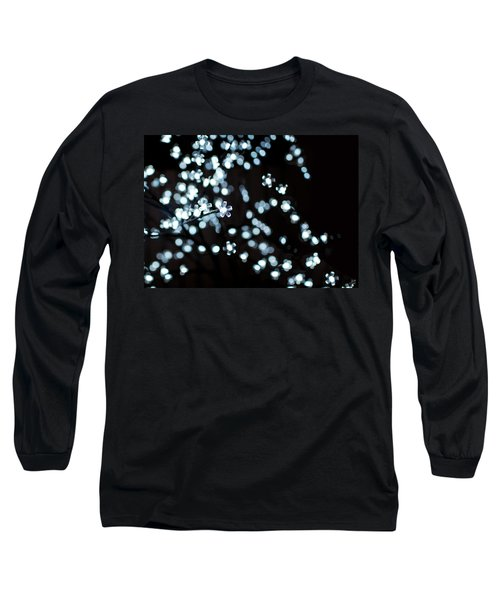 Electric Cherry Blossoms At Night Abstract Long Sleeve T-Shirt
