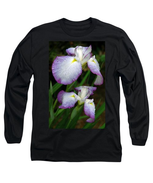 Elegant Purple Iris Long Sleeve T-Shirt by Marie Hicks