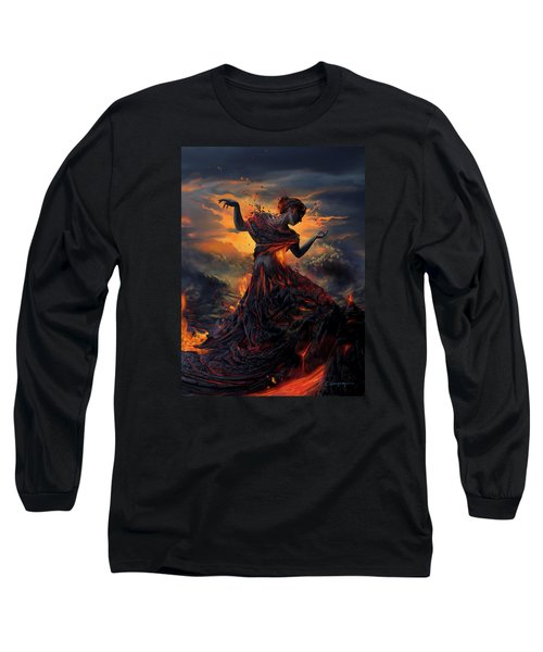 Elements - Fire Long Sleeve T-Shirt by Cassiopeia Art