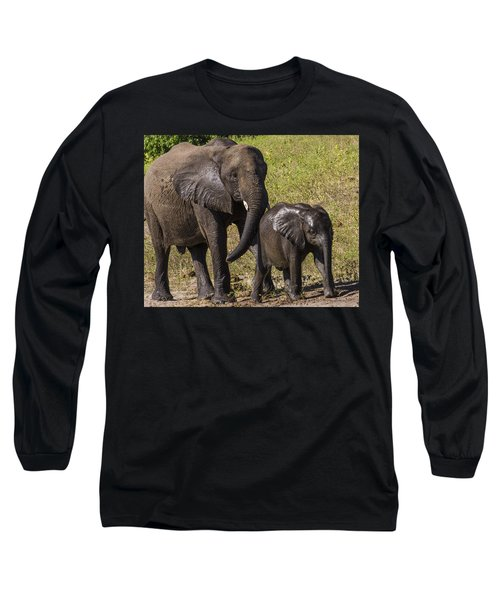 Elephant Mom And Baby Long Sleeve T-Shirt