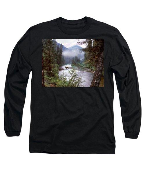 Elk Crossing 2 Long Sleeve T-Shirt by Leland D Howard