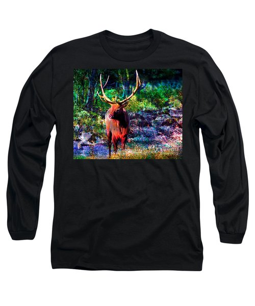 Long Sleeve T-Shirt featuring the painting Elk In The Wilderness by Annie Zeno