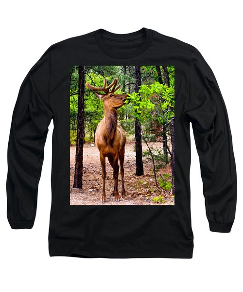 Long Sleeve T-Shirt featuring the photograph Elk - Mather Grand Canyon by Bob and Nadine Johnston