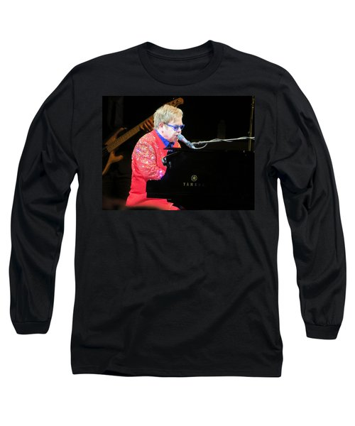 Elton John Live Long Sleeve T-Shirt by Aaron Martens