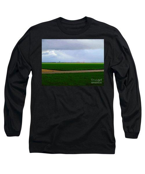 Long Sleeve T-Shirt featuring the digital art Empty Green by Luc Van de Steeg