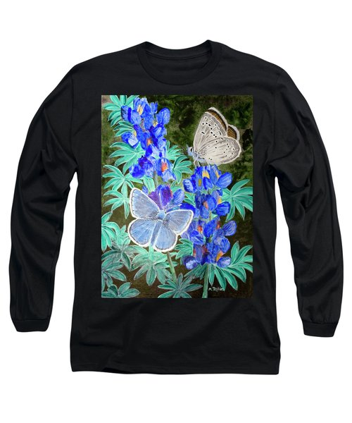 Endangered Mission Blue Butterfly Long Sleeve T-Shirt by Mike Robles