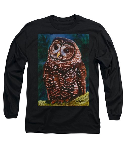 Endangered - Spotted Owl Long Sleeve T-Shirt by Mike Robles