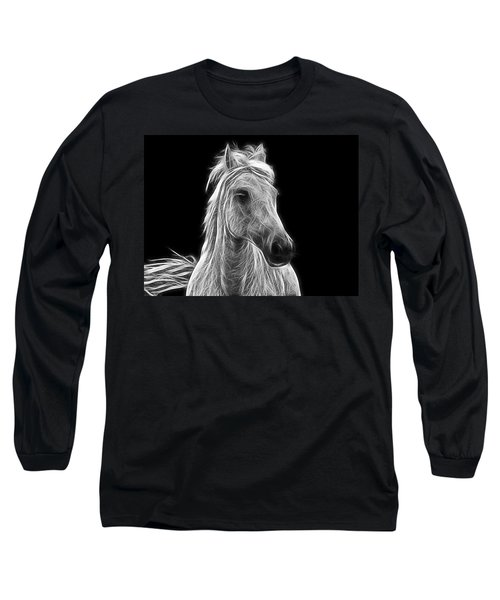 Energetic White Horse Long Sleeve T-Shirt