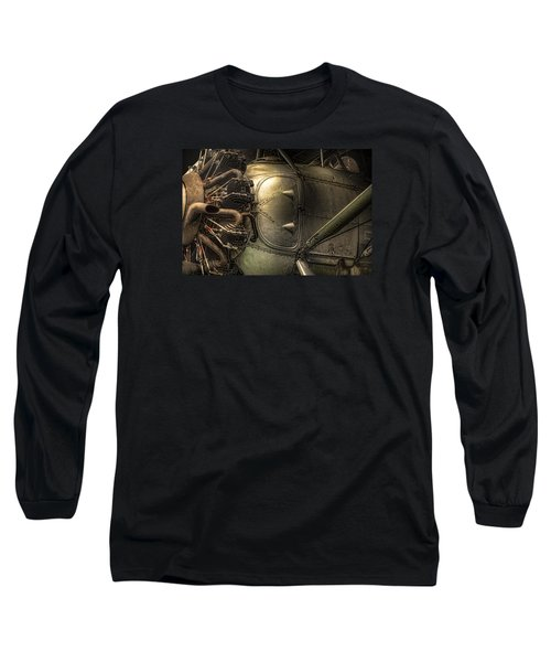 Long Sleeve T-Shirt featuring the photograph Radial Engine And Fuselage Detail - Radial Engine Aluminum Fuselage Vintage Aircraft by Gary Heller