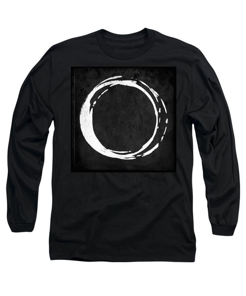 Enso No. 107 White On Black Long Sleeve T-Shirt