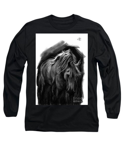 Long Sleeve T-Shirt featuring the drawing Equine 1 by Paul Davenport