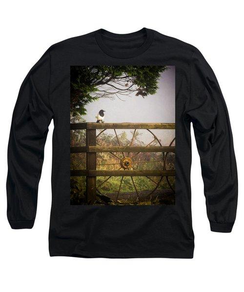 Eurasian Magpie In Morning Mist Long Sleeve T-Shirt