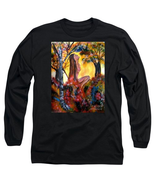 Long Sleeve T-Shirt featuring the painting Eve In The Garden by Lori  Lovetere