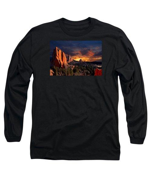 Evening Light At The Garden Long Sleeve T-Shirt by John Hoffman