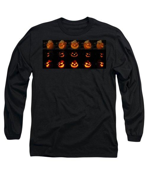 Long Sleeve T-Shirt featuring the sculpture Evil Flippy Pumpkin by Shawn Dall