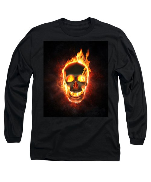 Evil Skull In Flames And Smoke Long Sleeve T-Shirt by Johan Swanepoel