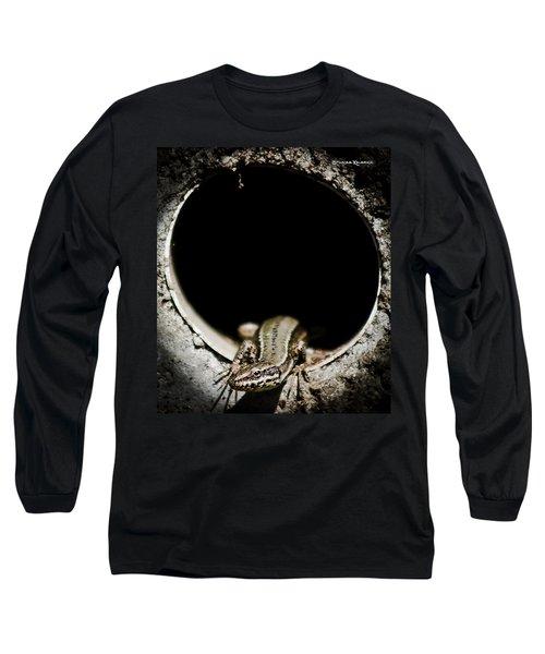 Long Sleeve T-Shirt featuring the photograph Exit Of Lizard Devil by Stwayne Keubrick