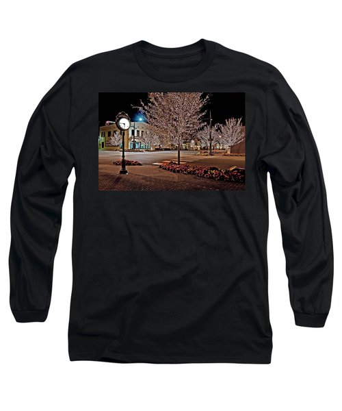 Fairhope Ave With Clock Night Image Long Sleeve T-Shirt