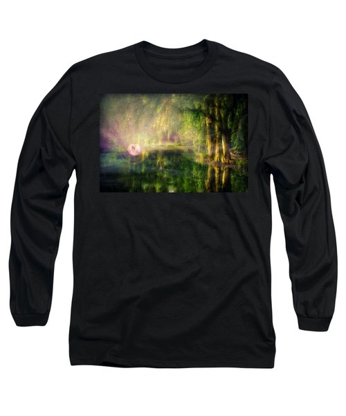 Fairy In Pink Bubble In Serenity Forest Long Sleeve T-Shirt by Lilia D