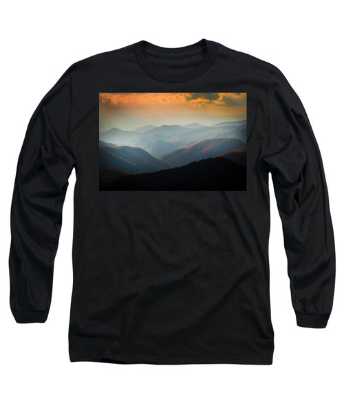 Fall Foliage Ridgelines Great Smoky Mountains Painted  Long Sleeve T-Shirt