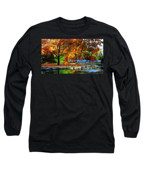 Fall Trees Landscape Stream Long Sleeve T-Shirt