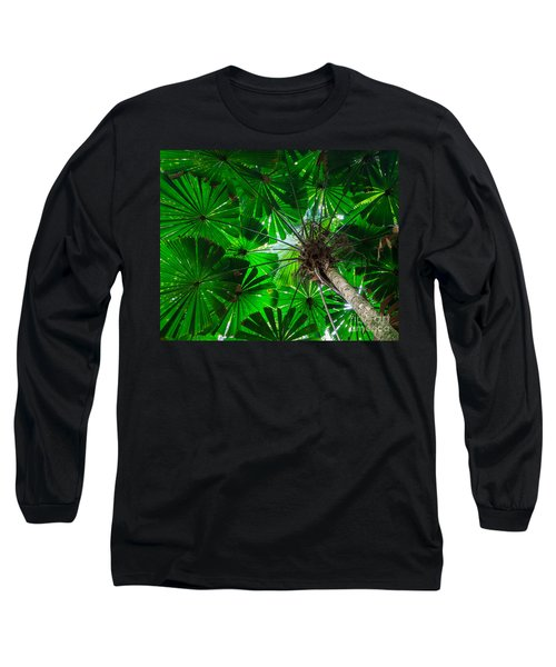 Long Sleeve T-Shirt featuring the photograph Fan Palm Tree Of The Rainforest by Peta Thames