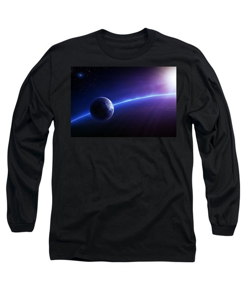 Fantasy Earth And Moon With Colourful  Sunrise Long Sleeve T-Shirt