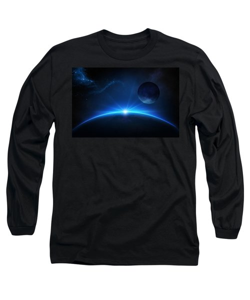 Fantasy Earth And Moon With Sunrise Long Sleeve T-Shirt