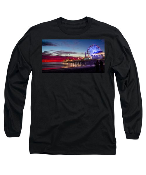 Ferris Wheel On The Santa Monica California Pier At Sunset Fine Art Photography Print Long Sleeve T-Shirt by Jerry Cowart