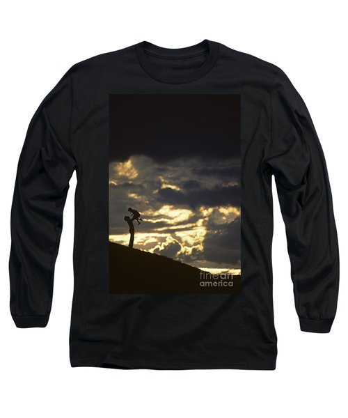 Father Holding Daughter Above His Head Along Hillside Silhouette Long Sleeve T-Shirt