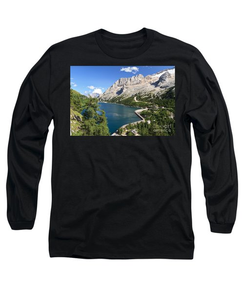 Long Sleeve T-Shirt featuring the photograph Fedaia Pass With Lake by Antonio Scarpi
