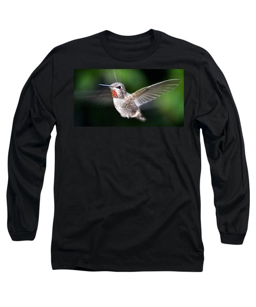 Long Sleeve T-Shirt featuring the photograph Female Caliope Hummingbird In Flight by Jay Milo