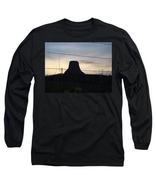 Long Sleeve T-Shirt featuring the photograph Fencing Devil's Tower by Cathy Anderson