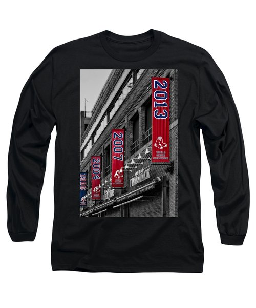 Long Sleeve T-Shirt featuring the photograph Fenway Boston Red Sox Champions Banners by Susan Candelario