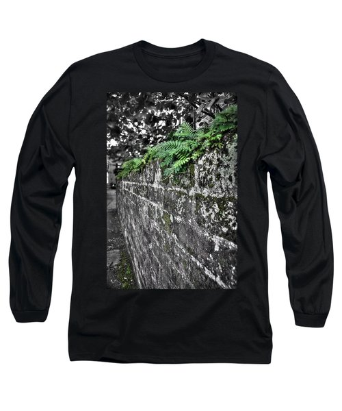 Ferns On Old Brick Wall Long Sleeve T-Shirt