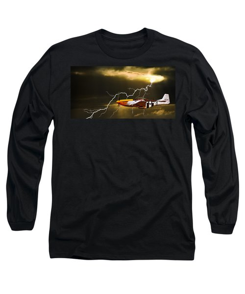 Ferocious Frankie In A Storm Long Sleeve T-Shirt by Meirion Matthias