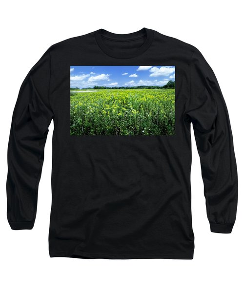 Field Of Flowers Sky Of Clouds Long Sleeve T-Shirt