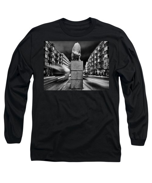 Bull Statue Long Sleeve T-Shirt by Mike Santis