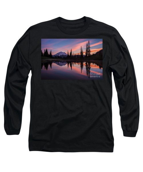 Fiery Rainier Sunset Long Sleeve T-Shirt