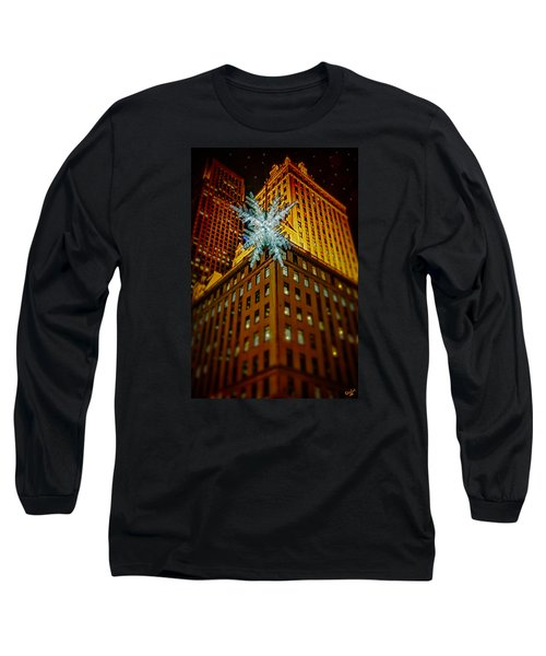 Long Sleeve T-Shirt featuring the photograph Fifth Avenue Holiday Star by Chris Lord