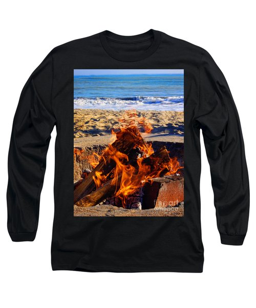 Long Sleeve T-Shirt featuring the photograph Fire At The Beach by Mariola Bitner