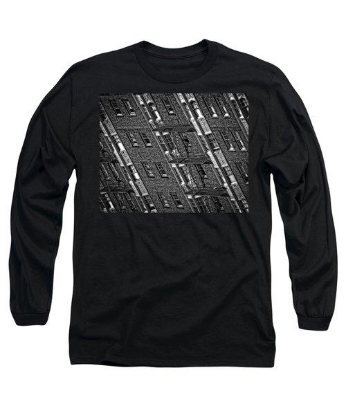 Fire Escape - Monochrome Long Sleeve T-Shirt by Mark Alder