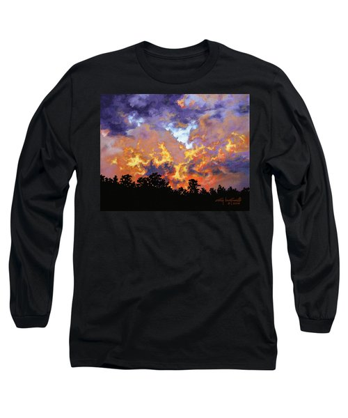 Long Sleeve T-Shirt featuring the painting Fire In The Sky by Craig T Burgwardt