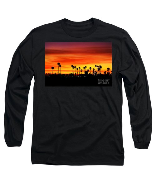Long Sleeve T-Shirt featuring the photograph Fire Sunset In Long Beach by Mariola Bitner