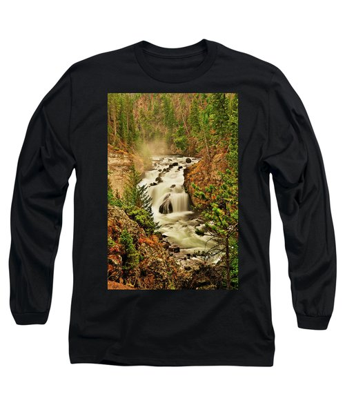 Firehole Falls Long Sleeve T-Shirt by Greg Norrell