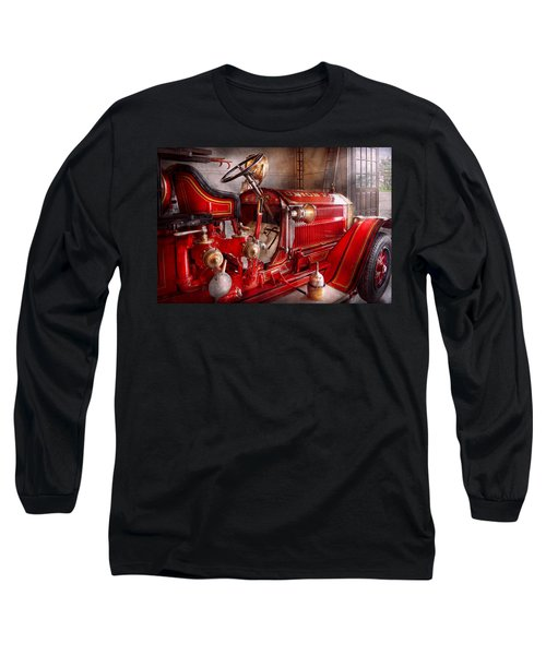 Fireman - Truck - Waiting For A Call Long Sleeve T-Shirt by Mike Savad